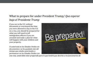 What to prepare for under President Trump/ Que esperar bajo el Presidente Trump